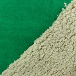 Fur fabric double face sheep and Suede Soft - Deep green x 10cm