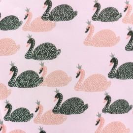 Tissu coton jersey Stenzo Mon petit cygne - rose x 10cm