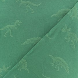 Phosphorescent Cotton jersey fabric - green Dino x 10cm