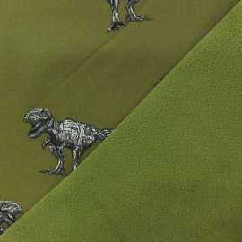 Softshell Poppy fabric - Khaki green Robot Dino x 10cm