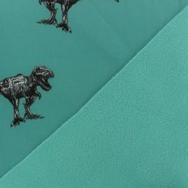 Tissu Softshell Poppy Robot Dino - turquoise x 10cm