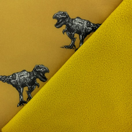 Tissu Softshell Poppy Robot Dino - jaune moutarde x 10cm