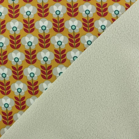 Softshell Poppy fabric -mustard Primrose x 10cm