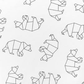 Tissu coton jersey Stenzo Ours origami - blanc x 10cm