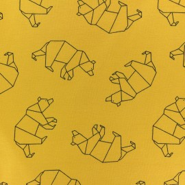 Tissu coton jersey Stenzo Ours origami - moutarde x 10cm