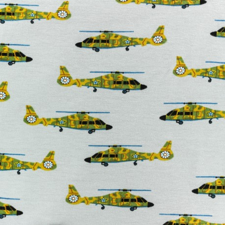 Poppy Jersey fabric - Grey Helicopter x 10cm