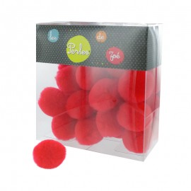 Pack of 25 Bubble pompons - red