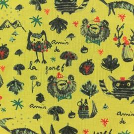 Tissu sweat léger Poppy Amis de la Forêt - jaune x 10cm