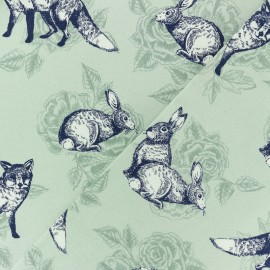 Poppy Cotton fabric - Pale green Sweet Roses x 10cm