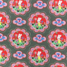 Tissu coton jersey Fiona Hewitt Floral Bunny - Violet x 10cm