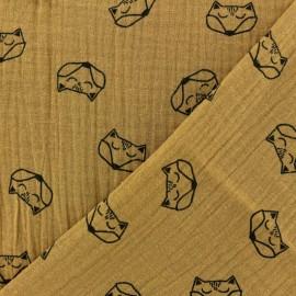 Tissu double gaze de coton Renard - camel x 10cm