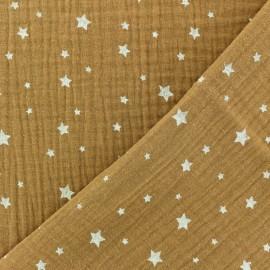 Tissu double gaze de coton Etoile - Camel x 10cm