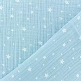 ♥ Coupon 10 cm X 130 cm ♥Double gauze Cotton fabric - Ice blue Star