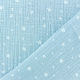 Double gauze Cotton fabric - Ice blue Star x 10cm