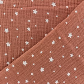 Double gauze Cotton fabric - Marsala Star x 10cm