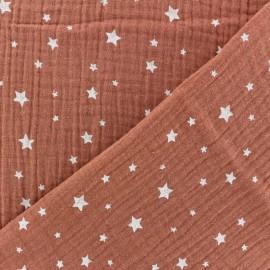 Tissu double gaze de coton Etoile - Marsala x 10cm