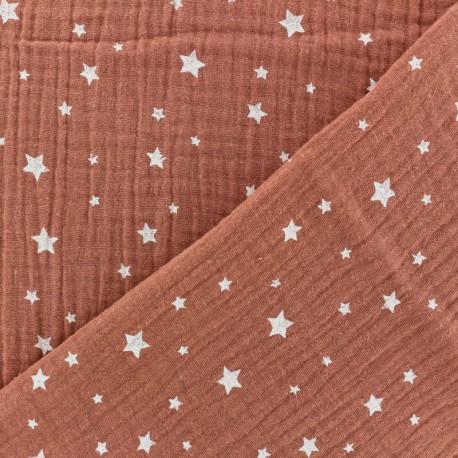 Double gauze Cotton fabric - Ice blue Star x 10cm