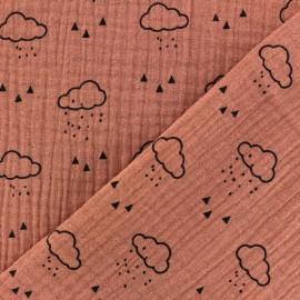 Double gauze Cotton fabric - Marsala Cloud x 10cm