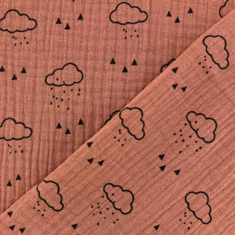 Double gauze Cotton fabric - Marsala Cloud x 10cm