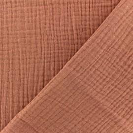 Tissu double gaze de coton uni - Marsala x 10cm