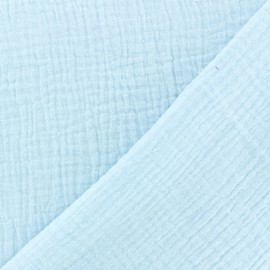 Plain Double gauze fabric - Ice blue x 10cm