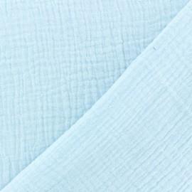 Tissu double gaze de coton uni - Glacier x 10cm