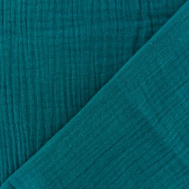 Plain Double gauze fabric - Peacock Green x 10cm