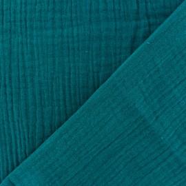 Tissu double gaze de coton uni - Paon x 10cm