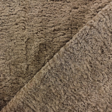 Tissu fourrure Astrakan Lahore - Taupe x 10cm