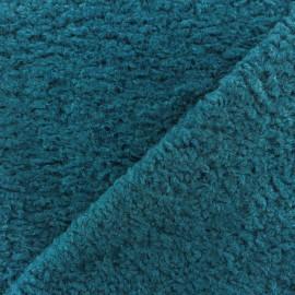 Tissu fourrure Astrakan Lahore - Bleu canard x 10cm