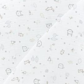 Double gauze Cotton fabric - Pure white Lidingo x 10cm