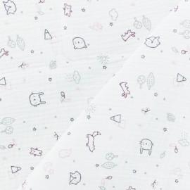 Tissu double gaze de coton Petits Amis - Blanc/Rose x 10cm