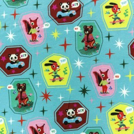 Fiona Hewitt Jersey cotton fabric - Blue Athletic animals x 10cm