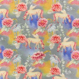 Poppy Jersey fabric - Blue Unicorn dream x 10cm