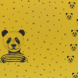 Poppy Jersey fabric Panel - yellow Mustard Mister Panda x 85cm