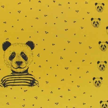 Poppy Jersey fabric Panel - yellow Mustard x 75cm