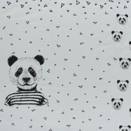 Panneau Jersey Poppy Mister Panda - gris clair x 85cm