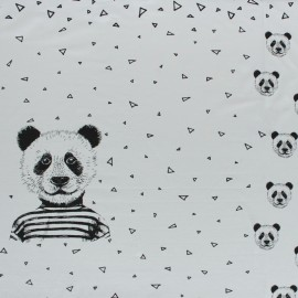 Poppy Jersey fabric Panel - light grey Mister Panda x 75cm