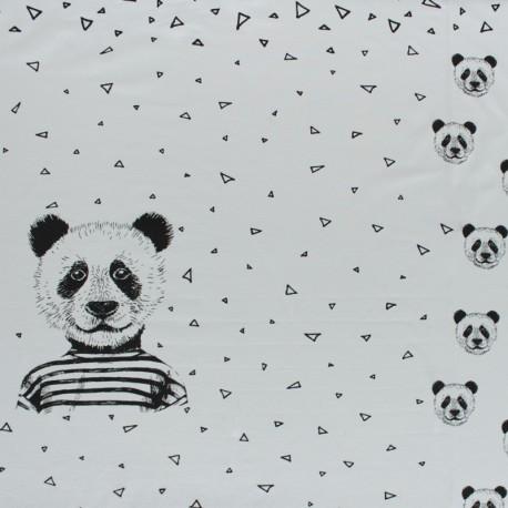 Poppy Jersey fabric Panel - light grey Mister Panda x 75cm