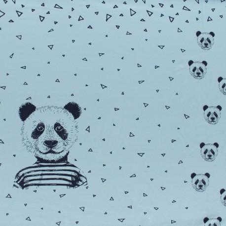 Poppy Jersey fabric Panel - sky blue Mister Panda x 75cm