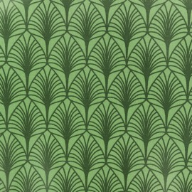 Coated cretonne cotton fabric - Green Leaf x 10cm