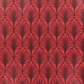 Coated cretonne cotton fabric - red Leaf x 10cm