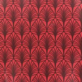Tissu coton crétonne enduit Leaf - rouge x 10cm
