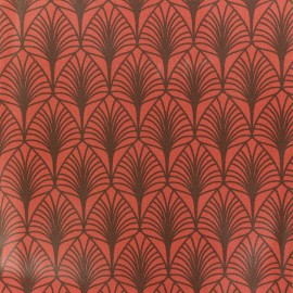Coated cretonne cotton fabric - Orange Leaf x 10cm