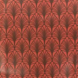 Tissu coton crétonne enduit Leaf - Brique x 10cm
