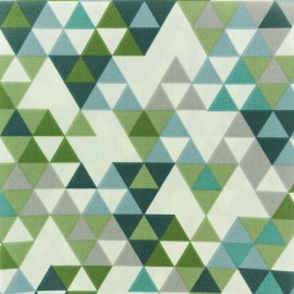 Coated cretonne cotton fabric - Green Triangolo x 10cm