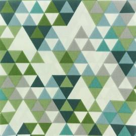 Tissu coton crétonne enduit Triangolo - vert x 10cm