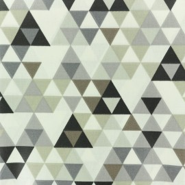 Coated cretonne cotton fabric - Grey Triangolo x 10cm