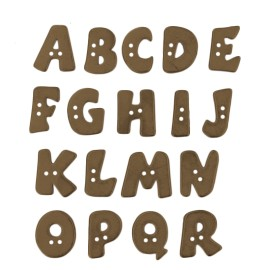 18 mm Metal Aspect Polyester Button - Bronze Alphabet