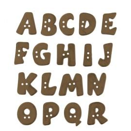 18 mm Metal Aspect Polyester Button - Bronze Alphabet